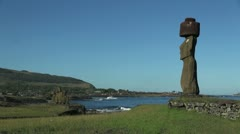 Easter Island Ahu Ko Te Riku moai profile and Vai Ure 11b Stock Footage
