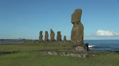 Rapa Nui statues at Tahai morning view Stock Footage