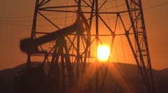 Oil Pump, Sunset, Timelapse Stock Footage