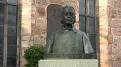 Wilhelm Löhe bust in Fuerth Stock Footage