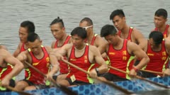 Dragon Boat Racing in Hong Kong Stock Footage