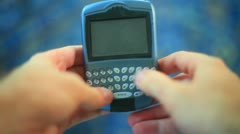 Texting sms text phone cell blackberry Stock Footage