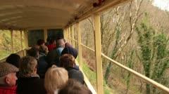 Steam train railway travelling along vale of rheidol, wales Stock Footage