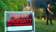 Trespassing no private property house forbidden land real estate Stock Footage