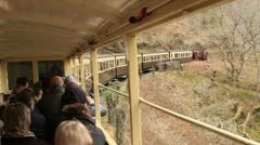 Steam train railway travelling along vale of rheidol, wales Stock Footage