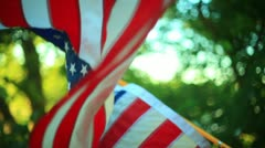 US flag USA wind summer - stock footage