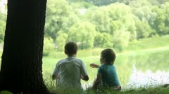 Boys in forest Stock Footage