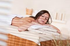 Stock Photo of spa - young woman at wellness massage treatment