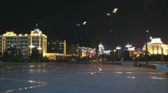 Heihe City Evening Promenade 04 Stock Footage