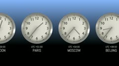 Time Zones - Clock 50 (HD) Stock Footage