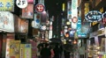 Electronic by night, Seoul Neon Street, Asian Shopping, Shoppers in South Korea HD Footage