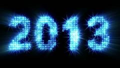 New year 2013 greetings glowing blue particles with alpha matte Stock Footage