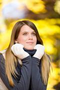 Autumn park - fashion model woman Stock Photos