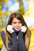 autumn park - fashion model woman - stock photo