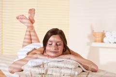 Stock Photo of spa - young woman at wellness therapy