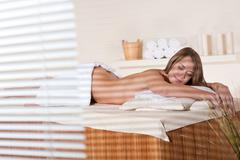 Spa - young woman relax at wellness massage treatment Stock Photos