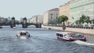 Tourists ships float away by Fontanka river in Petersburg city Stock Footage