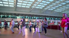 Many people dance during entertainment on cruise ship Stock Footage
