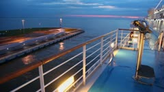 Seascape and deck of huge liner on moorage in dock Stock Footage
