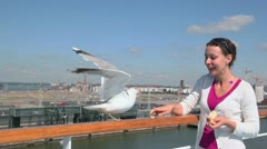 Gull sits on handrail and woman feeds it at summer day in port Stock Footage