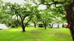 Panorama of camping among trees at rainy summer day Stock Footage