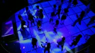 Lot of kids dance at discotheque in dark club, view from above Stock Footage