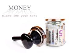 Glass pot for safe and long-term money storage - stock photo
