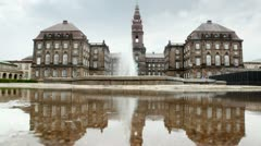 Christiansborg Slot - Denmark castle in 1167 from gray stone Stock Footage