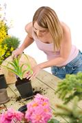 Stock Photo of gardening - woman with shovel take care of plant
