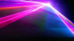 meeting and dispersing cone-shaped multi-colored beams in dark - stock footage