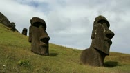 Moai at the Quarry against clouds Stock Footage