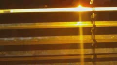 Sunset Behind Blinds Scene (HD) Stock Footage