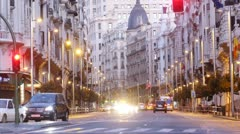 Stock Video Footage of Steam of cars rushes on Gran Via Street.