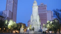 Monument to Cervantes stands in front of Edificio Espana Stock Footage