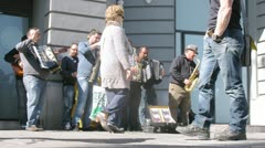 Music band play on street of Madrid at day Stock Footage