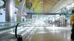 Employees of airport and passengers go on airport territory Stock Footage