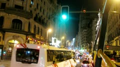 Steam of cars rush on main street Gran Via Stock Footage
