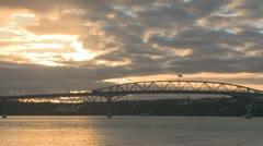 Time lapse of traffic on harbor bridge Stock Footage