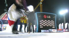 Winners receive awards on 18th stage of World Cup on snowboard Stock Footage