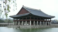Seoul Gyeonghoeru Pavilion, Gyeongbokgung Palace Greatly Blessed by Heaven Stock Footage