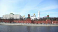 Kremlin churches stand near Kremlin wall, time lapse Stock Footage