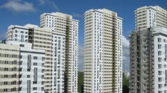 New buildings stand against sky, housing estate island Losiny Stock Footage