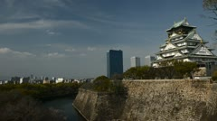 Beautiful Old Castle Osaka Skyline Japanese Fortress Airplane Fly Over City Day Stock Footage