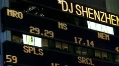 Stock exchange Forex quotes on the LED panel (Forex news). Stock Footage