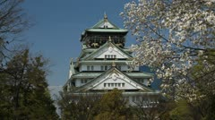 Japanese Symbol Famous Landmark Osaka Old Historic Castle Japan Cherry Trees Day Stock Footage