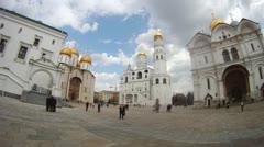 People walk in afternoon on Sobornaya square of Kremlin Stock Footage