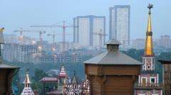 Roofs of Old Russian buildings face new houses, time lapse Stock Footage