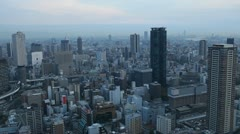 Osaka Japan Aerial View Financial District Skyscrapers Downtown Area Asian City Stock Footage