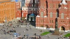 Monument to Zhukov stands on Manezhnaya Square Stock Footage