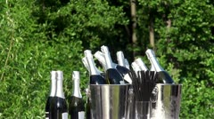 Bottles of champagne in a buckets at the nature. Stock Footage